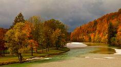 Herbst an der Isar, Deutschland