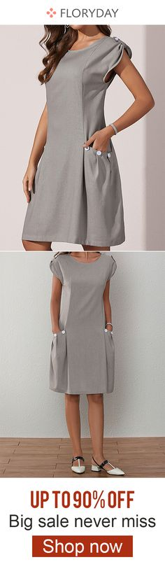 Solid round neckline above knee dress, elegant dress, basic style, limited supply. Cute Vintage Outfits, Style Vintage, Retro Vintage, Simple Dresses, Casual Dresses, Dress Outfits, Fashion Dresses, Corporate Fashion, Mode Chic