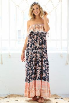 Wonderland Maxi Dress in Peach $69.90  Feminine and flattering, the Wonderland maxi is every Bohemian girl's dream dress.   The frill around the bust is trimmed with lace and also elasticised, making it a really easy dress to fit for any body shape.
