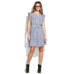 Madewell dawnlight houndstooth dress  $168.00 Item#58827  This darling silk dress is full of painterly elegance.
