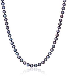 AuraPearl 14K White Gold 5mm-6mm Black Freshwater Cultured AA Quality Pearl Strand Necklace >>> Visit the image link more details.