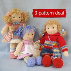 Patterns written in ENGLISH. Other languages NOT available. INSTANT DOWNLOAD - PDF download button is on your Purchases and reviews page (to find this click on You top right of page). 3 PATTERN DEAL - You will receive PDF knitting patterns for the following 3 dolls. 1. LUCY LAVENDER and RABBIT - Lucy Lavender - 30 cm (12 in). Rabbit - 9cm (4in) to the tips of ears. 9 page PDF file with plenty of pictures and step by step instructions 2. TILLY - Tilly - 36 cm (14 in). 9 page PDF file wit...