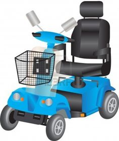 A Blue Electric Mobility Scooter for the Disabled Stock Photo