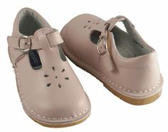 L'Amour Light Pink T-Strap Leather Shoes.