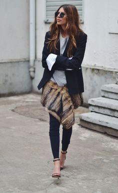 layers :: grey sweatshirt + blazer + fur + skinny