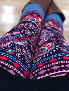 Fun purple printed leggings from the BRAND NEW online company called abby + anna's boutique. They have the same buttery leggings as other brands, but at nearly half the price. One size leggings for $15 and plus size leggings for $17! You can shop legging outfits (they have the perfect long tops for leggings) 24/7 and not have to wait for a party. These are called The Purple Persuasion. :)