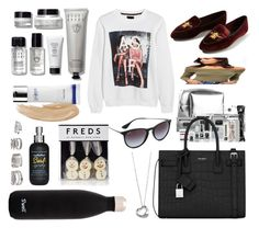 """""""Holiday Necessities"""" by briarachele ❤ liked on Polyvore featuring Pinch Provisions, Bobbi Brown Cosmetics, Yves Saint Laurent, S'well, Ray-Ban, Forever 21, Miss Selfridge, Bumble and bumble, Elsa Peretti and Estée Lauder"""