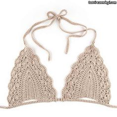 Image of Triangle Crochet Bikini Bra - BeigeWould be pretty under a sheer top in the summerCrochet World added a new photo.You will love this Crochet MocShop stylish women's swimwear at FABKINI & find tankinis, bikinis, one-piece swimsuits, monokinis & mo Crochet Halter Tops, Motif Bikini Crochet, Crochet Bathing Suits, Crochet Bikini Bottoms, Crochet Bra, Mode Crochet, Crochet Clothes, Crochet World, Haut Bikini