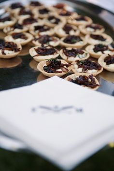 Goat Cheese Thyme Tartlets with Balsamic Glazed Caramelized Onions - Summer Wedding Menu Summer Wedding Menu, Wedding Foods, Cocktail Food, Cocktail Recipes, Balsamic Glaze, Caramelized Onions, Goat Cheese, Food And Drink, Drinks