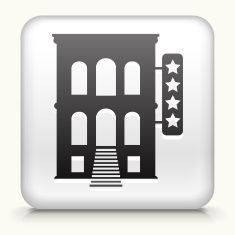 Square Button with Five Star Hotel royalty free vector art vector art illustration