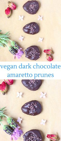 These Dark Chocolate Amaretto Prunes: subtly boozy, salty-sweet and all kinds of sophisticated. Vegan and gluten-free.