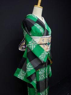 ●ガールズ●レトロ!!グリーン×ブラック*ボーダー♪正絹お召し 袷 裄64丈157 - アンティーク着物や現代着物なら雅星本店