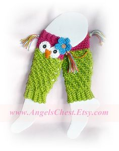 Ravelry: PDF Crochet Pattern Owl Leg Warmers or Leggings Sizes Newborn to Preteen No. 19 pattern by Mary Angel Morris Crochet Leg Warmers, Crochet Boot Cuffs, Baby Leg Warmers, Crochet Boots, Crochet Gloves, Crochet Slippers, Cute Crochet, Crochet For Kids, Crochet Crafts