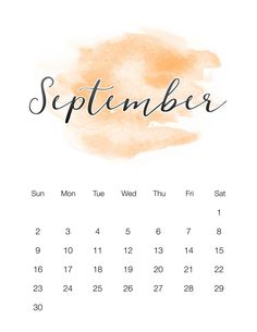 This Free Printable 2018 Watercolor Wash Calendar is a perfect calendar for those that like things simple and pretty. Comes in 2 sizes & Enjoy! 2018 Calendar Template, Diy Calendar, Free Printable Calendar, Calendar Design, Printable Planner, Free Printables, September Kalender, September Calendar 2018, September 19
