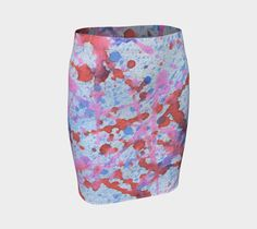 Fitted skirt, splatter painting, gifts for her, gifts for artists, art printed, patterned skirt, teen skirt, fashion, knit, art of where #etsy