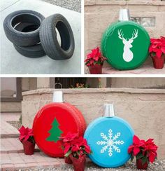 Old tires into ornaments