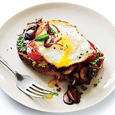 Open-Faced Sandwiches with Mushrooms and Fried Eggs | CookingLight.com