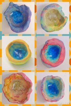 PARK ART SMARTIES: Classy Glassy Pinch Pots (melted glass pebble in ceramic pinch pot, watercolors)