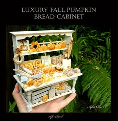 Reserved for Lisa R Luxury Fall Halloween Bread Display - Artisan fully Handmade Miniature in 12th scale. From After Dark miniatures.
