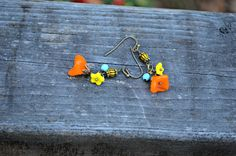 Glass Flowers Earrings colorful handmade orange yellow and blue earrings bright jewelry gift by practicallyfrivolous on Etsy