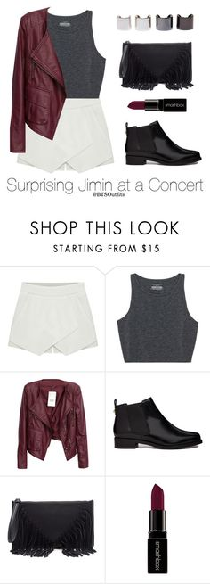 """""""Surprising Jimin at a Concert"""" by btsoutfits ❤ liked on Polyvore featuring Eloqueen, ASOS, Sole Society, Smashbox and Luv Aj"""