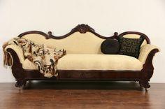 Empire 1840's Antique Mahogany Sofa, New Upholstery