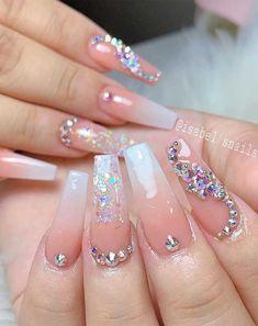 nail art designs latest nail art designs gallery new nail art 2020 nail art t… Bling Acrylic Nails, Summer Acrylic Nails, Glam Nails, Best Acrylic Nails, Rhinestone Nails, Bling Nails, Rhinestone Nail Designs, Bling Nail Art, Stiletto Nails