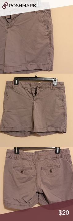 Ann Taylor Loft Shorts Super cute Loft shorts that are a gray-ish color. Butt pockets are super cute w/ button. There is an extra button attached to the inside of the shorts that can replace any buttons that fall off. No holes or stains. Smoke free home, make an offer! LOFT Shorts Bermudas