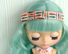 Blythe Headband ~ Pink Satin Feathers Hipster Headband for Blythe Dolls ~ by Violet Poppy