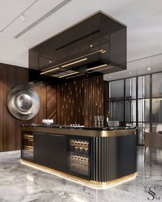 Chic kitchen island A special feature of this kitchen is anodized aluminum facades and a hood over t Luxury Kitchen Design, Kitchen Room Design, Luxury Kitchens, Home Decor Kitchen, Interior Design Kitchen, Home Design, Kitchen Modern, Design Ideas, Kitchen Table With Storage