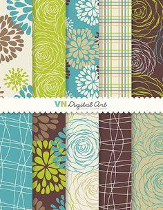 "Blume Digital, digitale Papier Dahlia Digital Scrapbook Papier Pack (8.5 x 11 ""-300 dpi)--Instant Download--10 Digital Papiere--280"