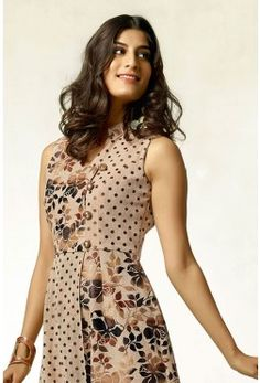 Tail Cut Kurti-Beige & Brown-Printed-WKR1083