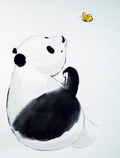 Original watercolor painting  Panda with butterfly by maggiepp