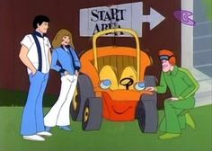 Speed Buggy, Mark, Debbie, Speed Buggy and Tinker. Saturday morning cartoon produced by Hanna-Barbera Productions and broadcast on CBS from September 8, 1973 to August 30, 1975.