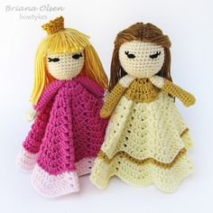 Customize this lovey to look like your little one's favorite princess. Give her long sleeves, gloves, bodice, stripes, or anything else you can think of! Examples of different styles of hair are included in the pattern, but you can style her hair however you wish.