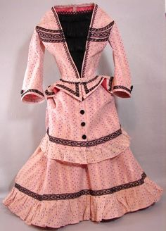 Antique leno weave cotton and black lace French Fashion Doll dress by Carol H. Straus 2012