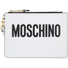 Moschino Evening Bag - Logo Clutch Leather White - in white - Evening... ($285) ❤ liked on Polyvore featuring bags, handbags, white, moschino purse, handbag purse, white evening bag, evening bags and leather man bags