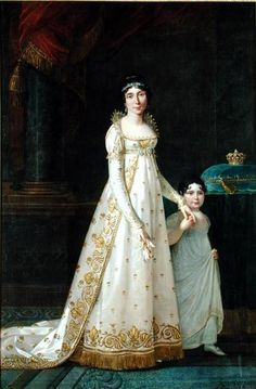 "Robert Lefevre: ""Portrait of Marie-Julie Clary Queen of Naples with her daughter Zenaide Bonaparte  1806 oil on canvas Palace of Versailles"