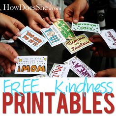 """Free Kindness Printables!! It would be fun to do these in a type of """"heart attack"""" to show someone you're thinking of them!"""