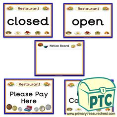Restaurant Role Play Resources - Primary Treasure Chest Ourselves Topic, Restaurant Signs, Role Play, Treasure Chest, High Quality Images, Crafts For Kids, Classroom, Foods, Activities
