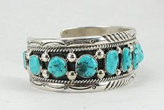 Hand made Native American Indian Jewelry; Navajo Sterling Silver and turquoise bracelet by Jeffrey Sam