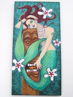 Original mermaid art painting acrylic on canvas Tropical Tiki God fantasy Hawaiian retro lowbrow. $490.00, via Etsy.