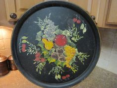 Vintage Painted Circular Tray, Black Tray, Heavy Metal Tray, Colorful Fruit Bouquet, 1950s, Large Tray, Rustic Tray, Wall Decor, Farmhouse by SoulsationsVintage on Etsy