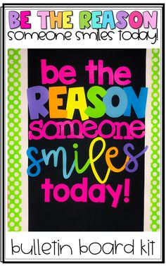 Everything you need to make a Be the Reason Someone Smiles Today bulletin board kit! Simply print and cut the letters using whatever paper or card stock you like to create this positive bulletin board in your classroom! Christmas Bulletin Boards, Reading Bulletin Boards, Winter Bulletin Boards, Preschool Bulletin Boards, Classroom Bulletin Boards, Classroom Ideas, Classroom Door, Classroom Organization, Classroom Management