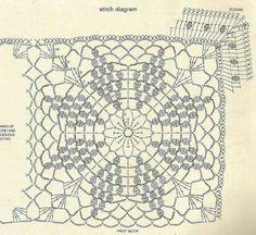 Crochet blanket pattern with bobbled star motif. Pattern: 2 More Patterns Like This! Crochet Bedspread Pattern, Crochet Doily Diagram, Crochet Motif Patterns, Granny Square Crochet Pattern, Crochet Chart, Crochet Squares, Crochet Granny, Crochet Doilies, Afghan Crochet