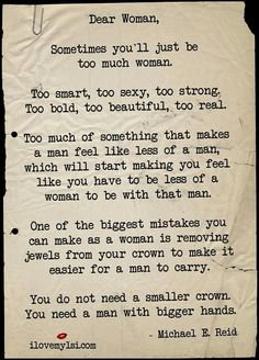 Too much of a woman...