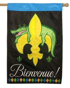 Bienvenue Alligator Fleur De Lis Double Applique House Flag