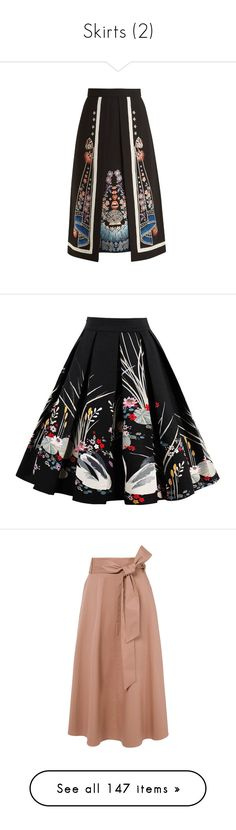 """""""Skirts (2)"""" by taught-to-fly19 on Polyvore featuring skirts, black multi, colorful skirts, knee length a line skirt, boho skirts, floral printed skirt, a-line skirts, midi skirts, floral pleated skirt e knee length pleated skirt"""