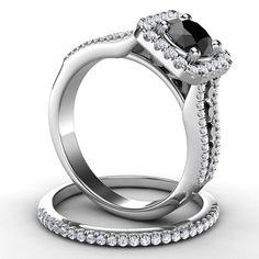 14k White Gold Black Diamond Bridal Set http://www.dunkinsdiamonds.com/p-13763-14k-white-gold-black-diamond-bridal-set.aspx
