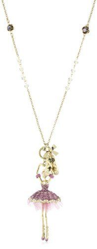 """Betsey Johnson """"Pendants and Bangles"""" Ballerina Long Pendant Necklace Betsey Johnson. $65.00. gold tone long necklace chain with gold tone flowers, clear faceted beads, gold tone bow with glitter ballet slippers, gold tone ballerina pendant with pink glitter and tulle tutu. Items that are handmade may vary in size, shape and color. gold tone long necklace chain with gold tone flowers, clear faceted beads, gold tone bow with glitter ballet slippers, gold tone ba..."""